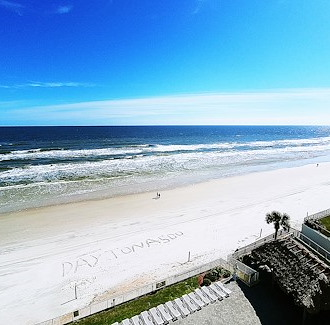Daytona Beach view from Emerald Shores Hotel rooms