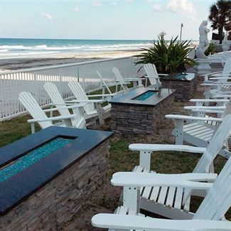 Outdoor fire pits at the Emerald Shores