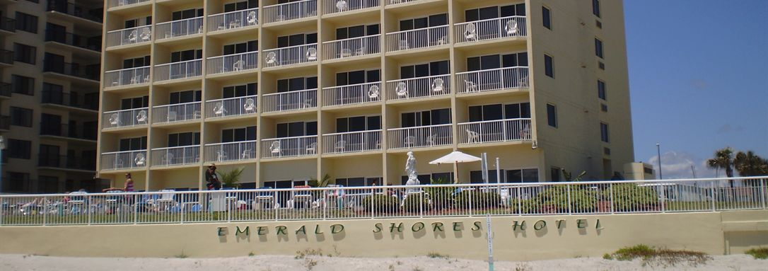 View of our oceanfront hotel in Daytona Beach Shores, Florida